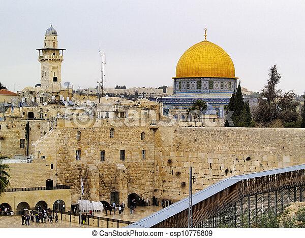 Wailing Wall and Al Aqsa Mosque, Jerusalem, Israel - csp10775809