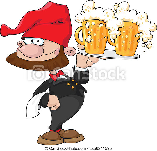 waiter gnome with beer - csp6241595