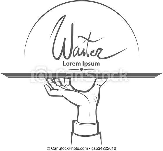 waiter hand logo - csp34222610