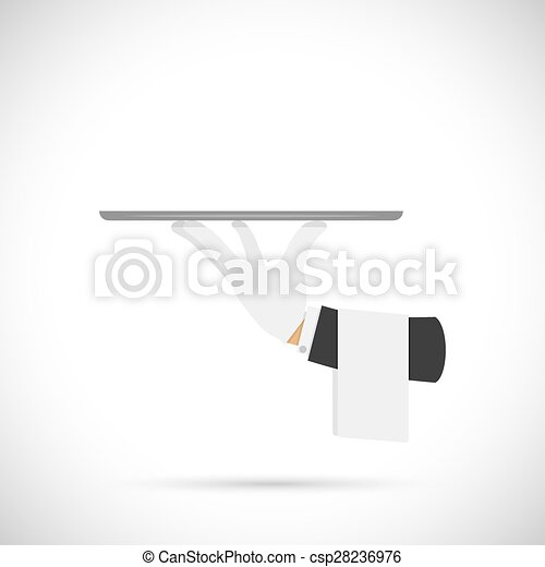 Waiter hand with tray and towel. - csp28236976
