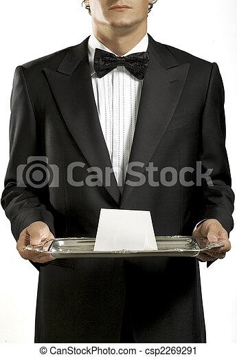Waiter with black tie - csp2269291
