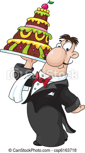 waiter with cake - csp6163718