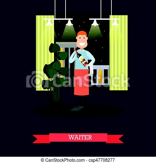 Waiter with wine bottle vector illustration in flat style - csp47708277