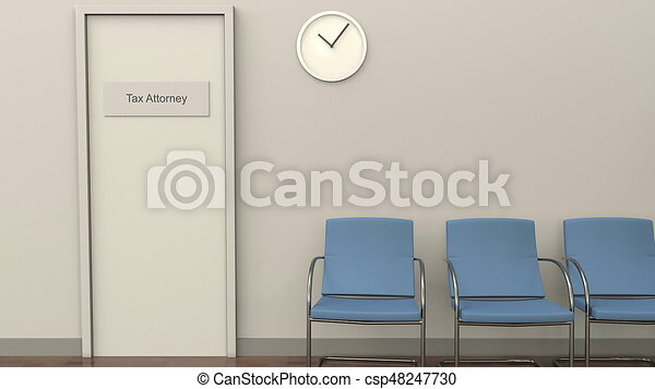 Waiting room at tax attorney office. Tax practice concept. 3D rendering - csp48247730