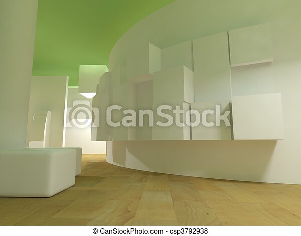 Waiting room in a hospital or clinic with empty space - csp3792938
