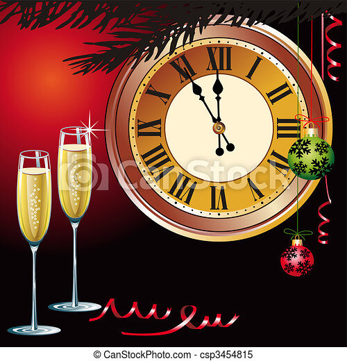 waiting the new year with champagne and clock csp3454815