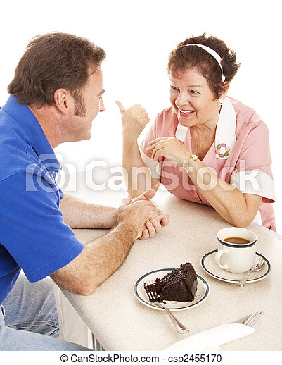 Waitress Chats with Customer - csp2455170