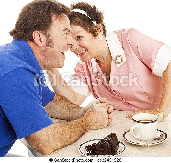 Waitress Gossips with Customer - csp2451320