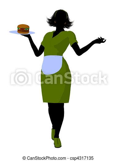 Waitress Illustration Silhouette - csp4317135