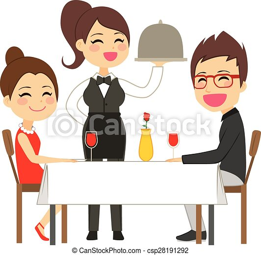 waitress serving restaurant happy waitress serving on eps rh canstockphoto co uk happy customer service clipart Satisfied Customer Clip Art