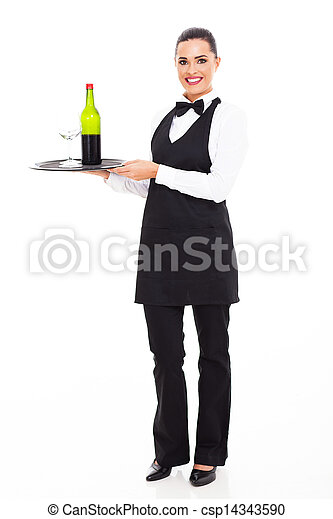 waitress sommelier with wine and glass - csp14343590
