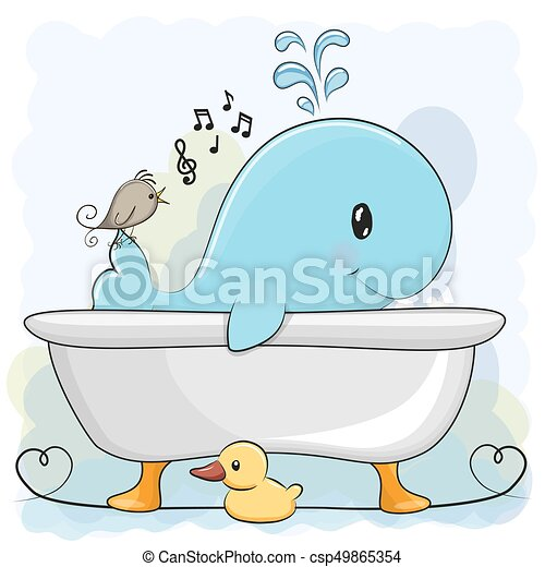 Wal, badezimmer. Wal, reizend, badezimmer, karikatur.