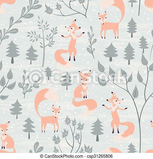 Wald Muster Fuchs Winter Seamless Stoff Fuchse Einladung