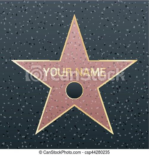 Walk of fame star illustration. Famous reward symbol. Achievement of actor celebrity. Hollywood vector success design. Fame symbol - csp44280235
