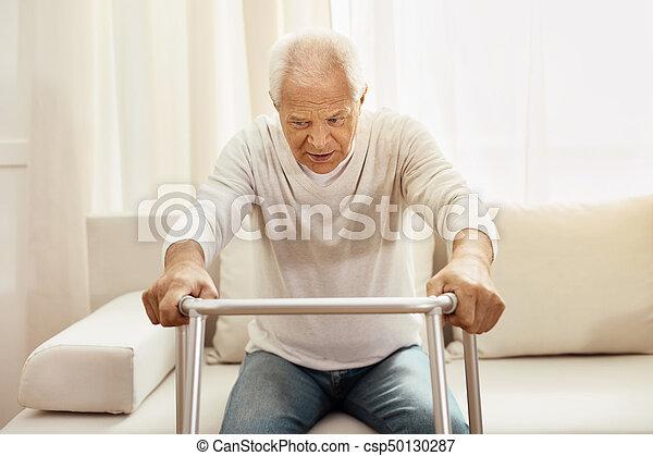 walker, gebruik, man, bejaarden, aardig - csp50130287