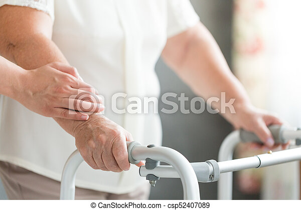walker, steunen, senior, caregiver, gebruik - csp52407089