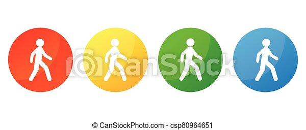 walking icon on round internet button - csp80964651
