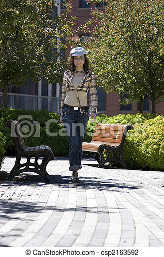 Walking in a park - csp2163592