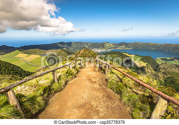 Walking path leading to a view on the lakes of Sete Cidades and Santiago in Sao Miguel, Azores - csp35778379