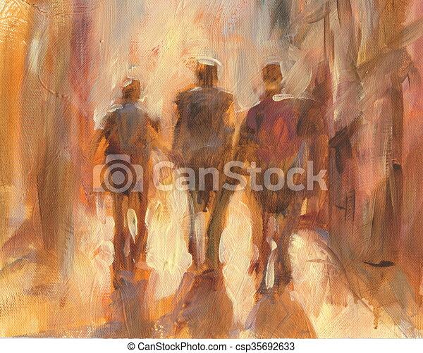 Walking People Handmade Painting