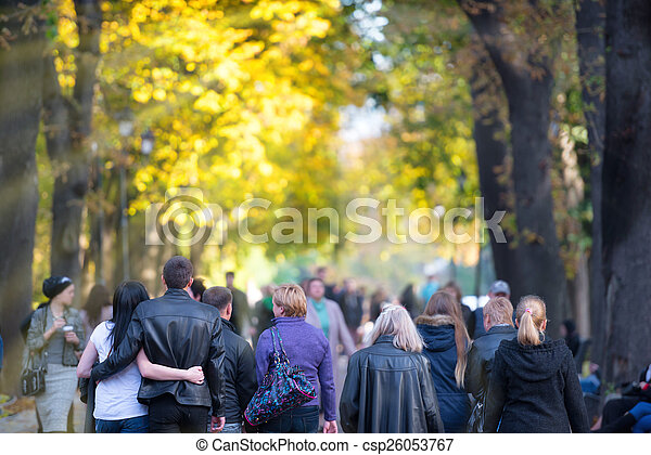 Walking people in the park - csp26053767