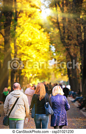 Walking people in the park - csp31021230