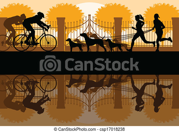Walking, running and cycling in old vintage city park landscape background illustration vector - csp17018238