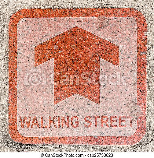 Walking street sign on Pedestrian walkway - csp25753623