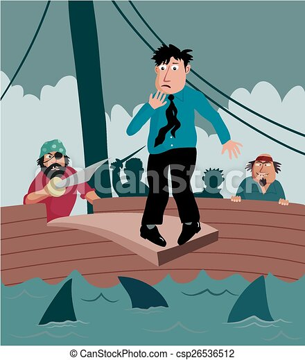 Walking the plank. A business man nervously walks the plank on a ...