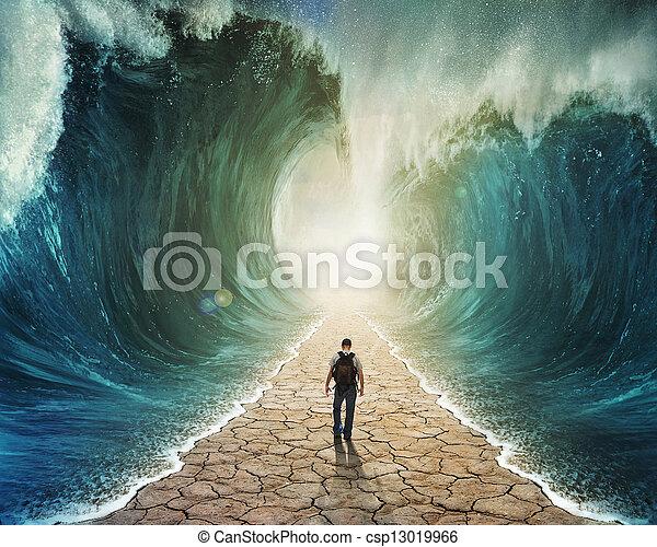 Walking through the water - csp13019966