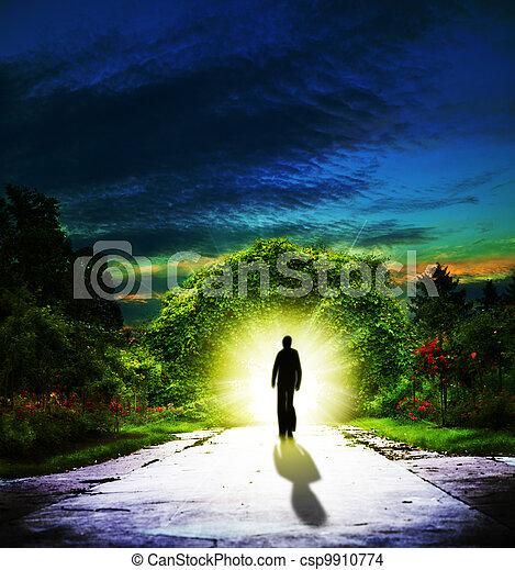 Walking to Eden. Abstract spiritual backgrounds - csp9910774