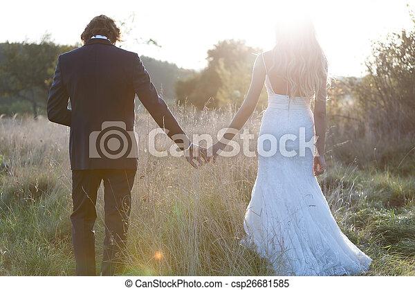 Walking to sunset - csp26681585