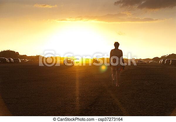Walking to sunset - csp37273164