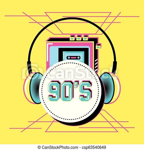 walkman with headphones of nineties retro - csp63540649