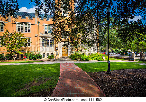 Walkway and the exterior of Trinity Episcopal Cathedral, in Columbia, South Carolina. - csp41111582