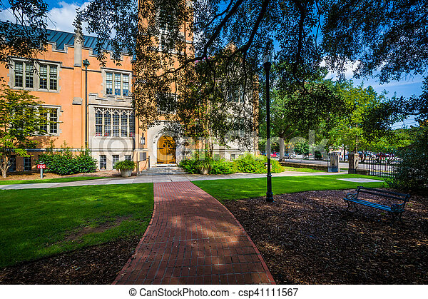 Walkway and the exterior of Trinity Episcopal Cathedral, in Columbia, South Carolina. - csp41111567
