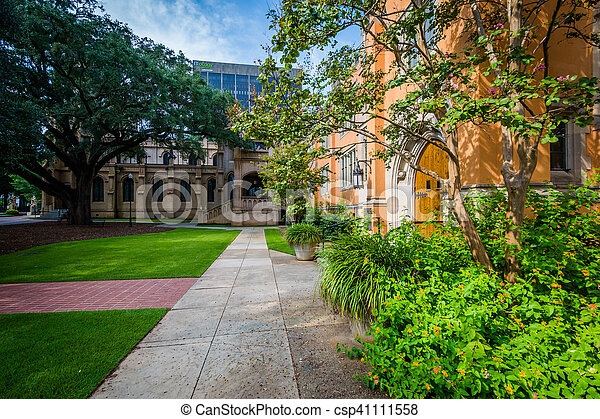 Walkway and the exterior of Trinity Episcopal Cathedral, in Columbia, South Carolina. - csp41111558