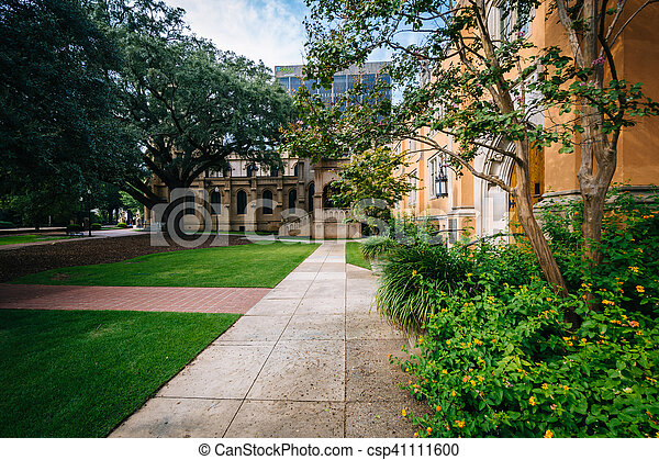 Walkway and the exterior of Trinity Episcopal Cathedral, in Columbia, South Carolina. - csp41111600
