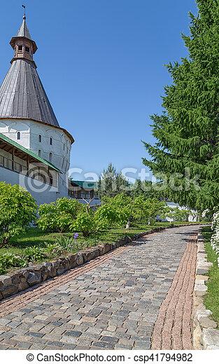 Walkway in the monastery garden - csp41794982