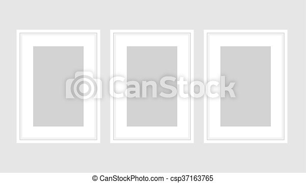 Wall Art Poster Set Of Three White A4 Frames Template Vector Mock