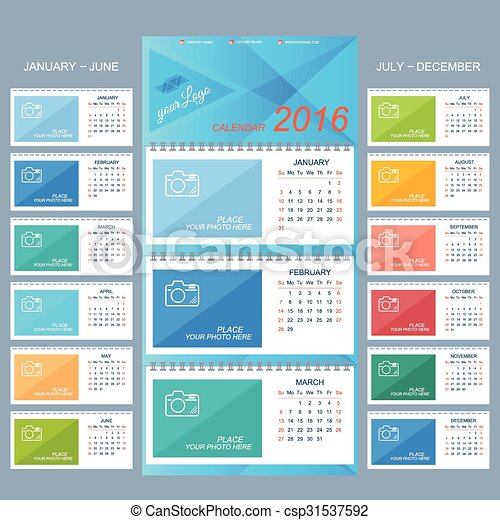 Wall Calendar 2016 Years Vector Design Template With Place Eps