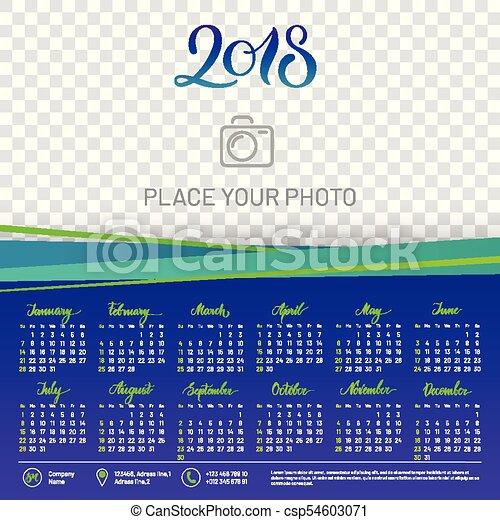 wall calendar 2018 year copy space atop csp54603071
