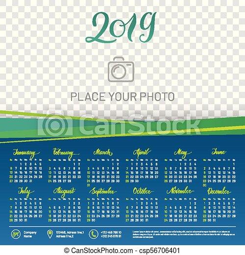 wall calendar 2019 year copy space atop csp56706401