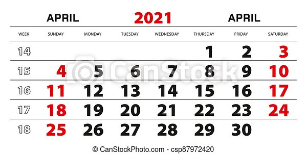 Wall calendar 2021 for april, week start from sunday ...