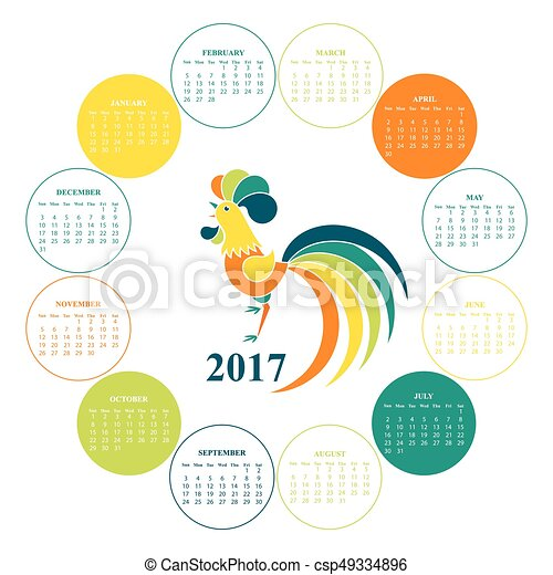 Wall Calendar For 2017 Chinese New Year Red Rooster