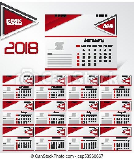 Vector Illustration Of Wall Calendar For 2018 Year Design Clip
