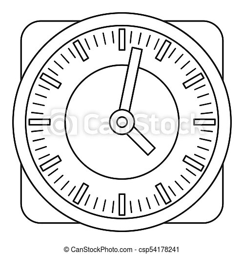 Wall clock icon, outline style. - csp54178241