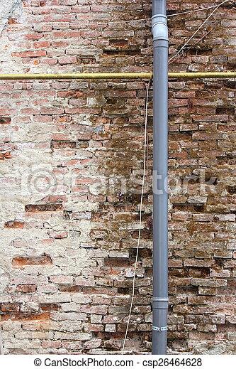 wall damaged by a defect gutter - csp26464628