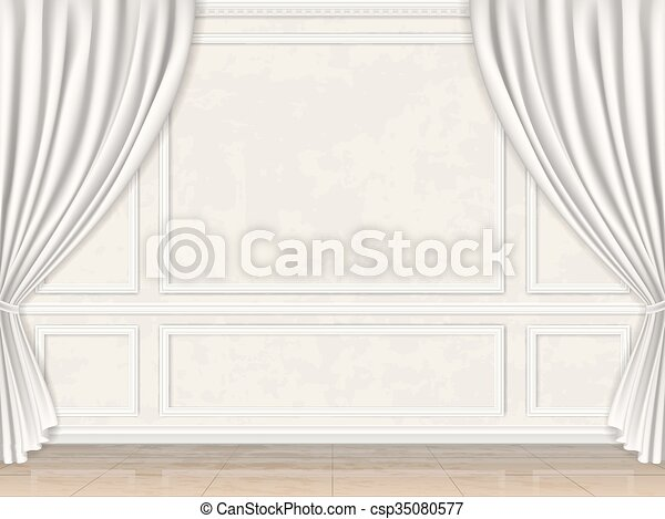 wall decorated panel mouldings and curtains - csp35080577