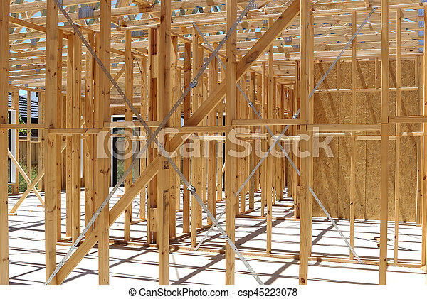 Wall Framing In House Construction Timber Frame Wall Construction